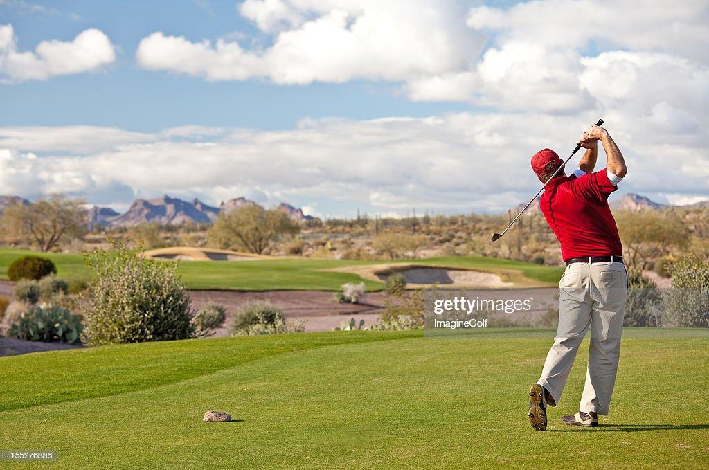 Male Caucasian Golfer on the Tee Desert Golf Course : Stock Photo