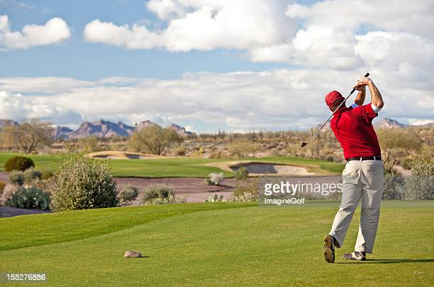 male caucasian golfer on the tee desert golf course - phoenix arizona stock photos and pictures