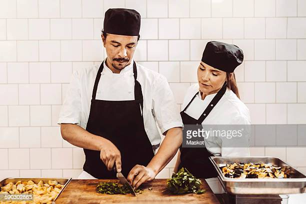 Male chef chopping leafy vegetables while standing with female colleague in commercial kitchen