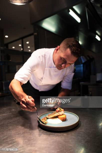 male chef garnishing food - chef stock pictures, royalty-free photos & images
