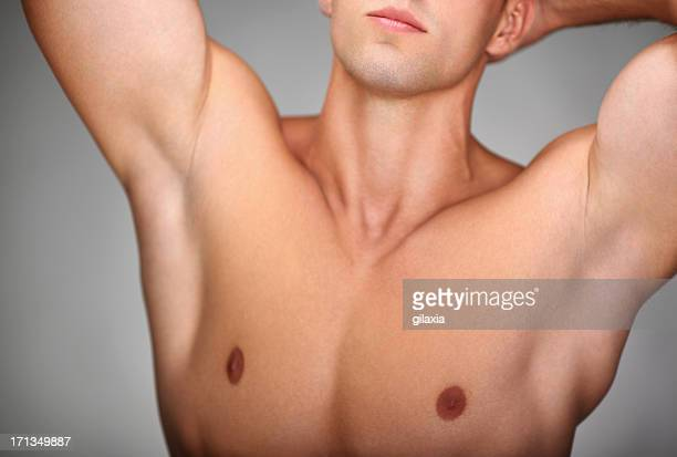 male chest,closeup. - male torso stock photos and pictures
