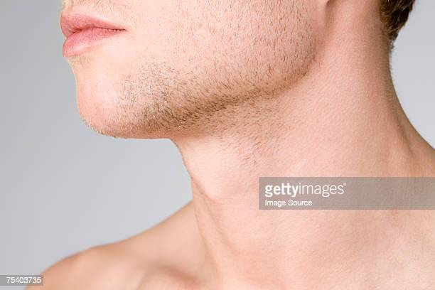 male chin and neck - neck stock photos and pictures