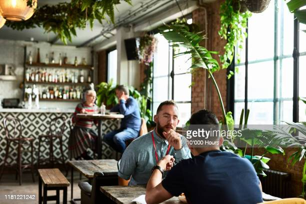 male colleagues having business lunch in cafe - interview stock pictures, royalty-free photos & images