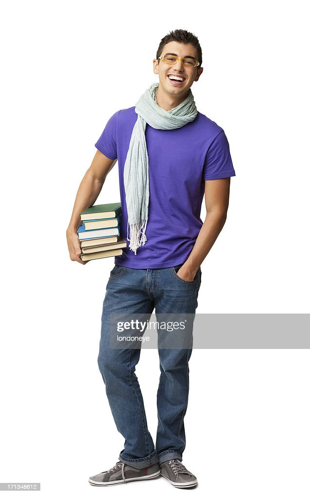 Male College Student Holding Books - Isolated : Stock Photo