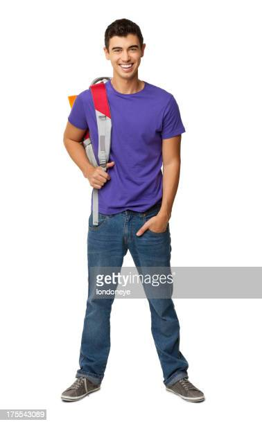 Male College Student With Rucksack - Isolated