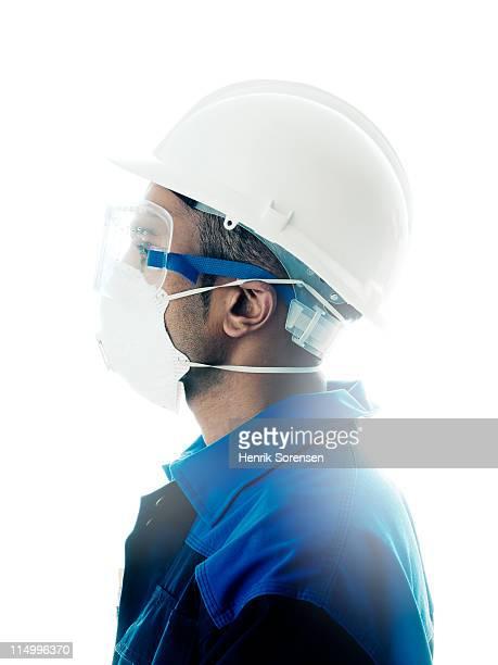 male construction worker - schutzbrille stock-fotos und bilder