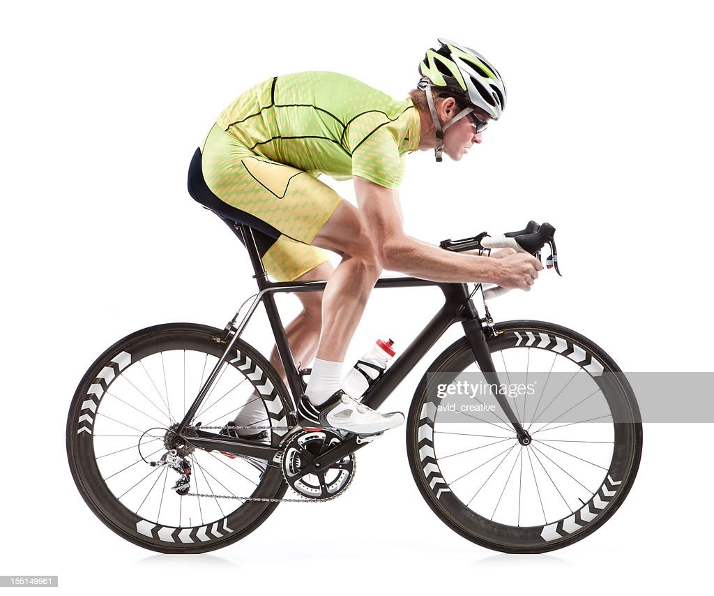 Male cyclist on road bike with white background : Stock Photo