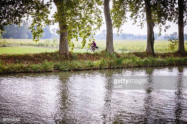 male cyclist riding on riverbank - herault stock pictures, royalty-free photos & images