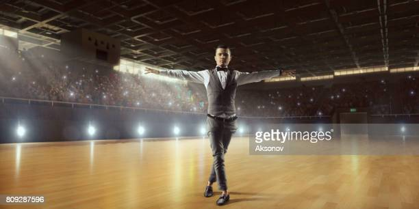male dancer ardently perform the latin american dance on a large professional stage - ukrainian angel stock photos and pictures
