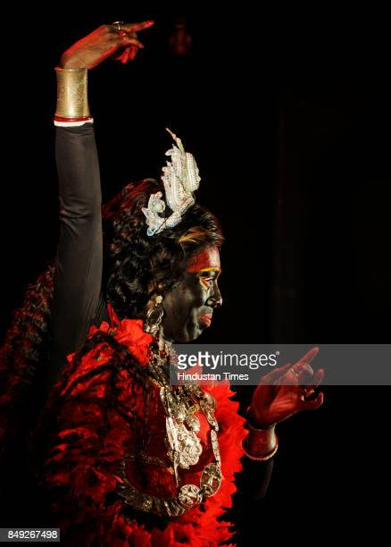 A male dancer performs as one of the nine avatars of Durga at Gyan Mancha on September 18 2017 in Kolkata India 61 dancers of Male Dance Academy...