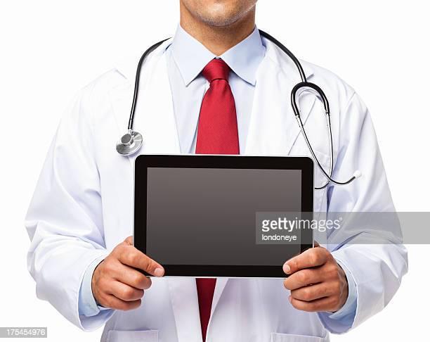 Männlichen Arzt hält digitale Tablet-isoliert