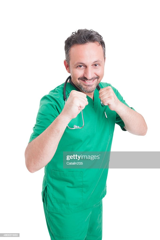 Male doctor in fighting position : Stock Photo