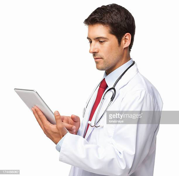 Male Doctor Using Digital Tablet - Isolated