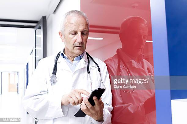 male doctor using smartphone - sigrid gombert stockfoto's en -beelden