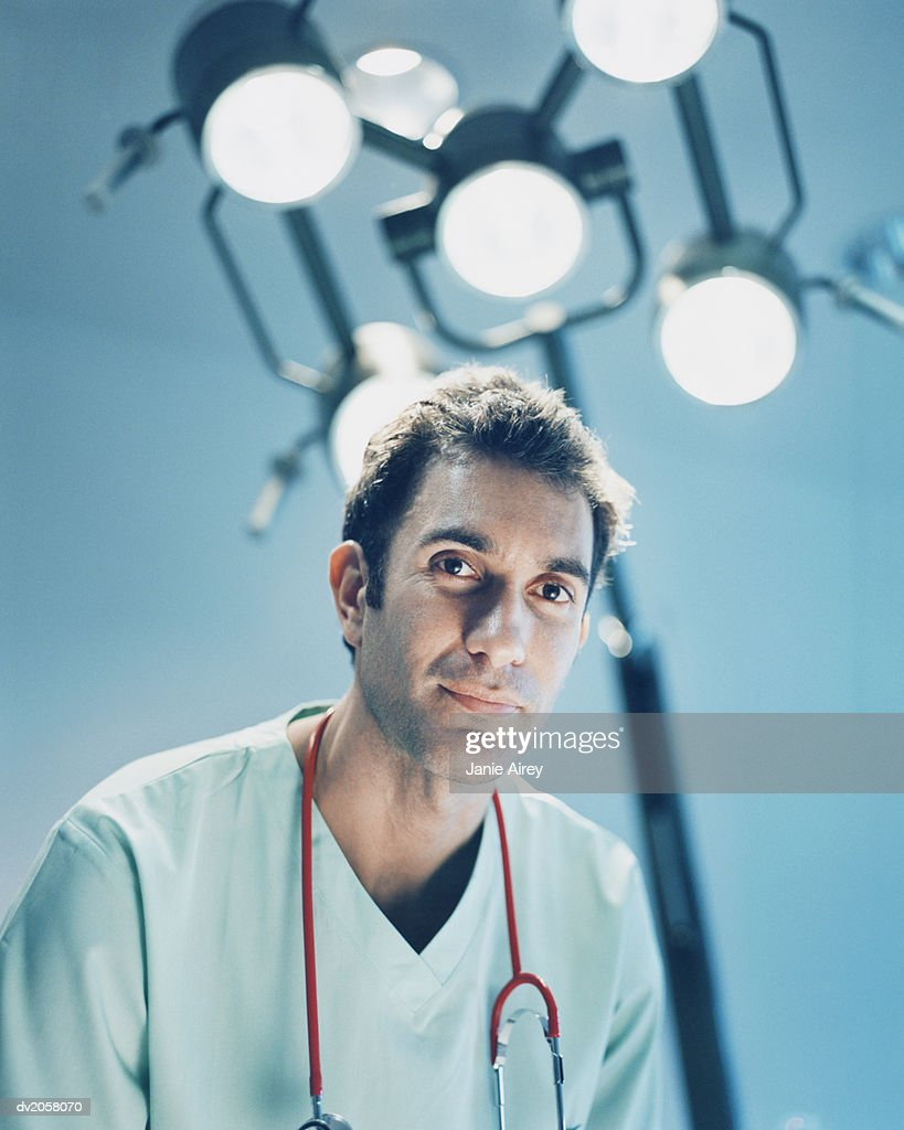 Male Doctor With a Stethoscope Around His Neck : Stock Photo