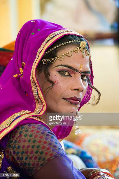 male dressed as a woman at gangaur festival, jaipur, india - gangaur stock pictures, royalty-free photos & images