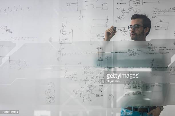 Male engineer working on new ideas and writing diagram on glass wall.