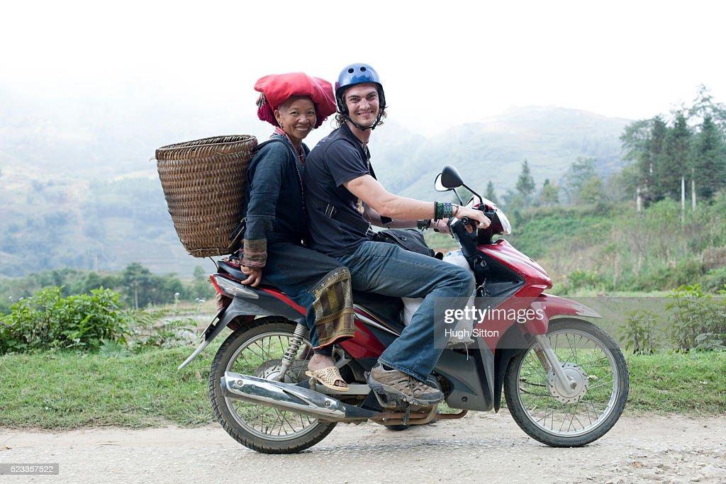 Male european Tourist travelling through Sapa. Vietnam : Stock Photo