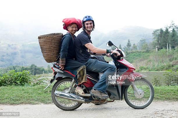 male european tourist travelling through sapa. vietnam - hugh sitton stock pictures, royalty-free photos & images