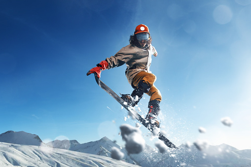 Male extreme freestyle snowboarder jump - gettyimageskorea