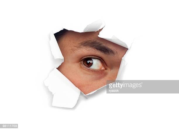 見つめるの穴 - peeping holes ストックフォトと画像