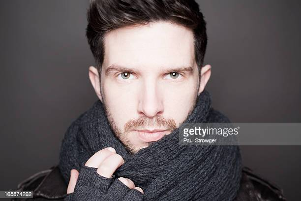 Male Face, Scarf and Gloves
