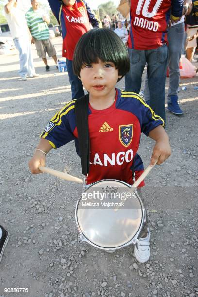 A male fan of Real Salt Lake plays a drum prior to the game against the Chicago Fire at Rio Tinto Stadium on September 12 2009 in Sandy Utah