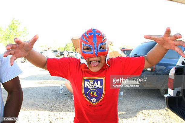 Male fan of Real Salt Lake wears a lucha libre wrestling mask prior to the game against the Chicago Fire at Rio Tinto Stadium on September 12, 2009...