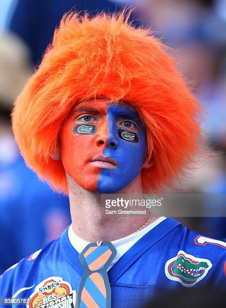 A male fan of the Florida Gators wears a colored wig and face paint during the game against the Citadel Bulldogs at Ben Hill Griffin Stadium on...