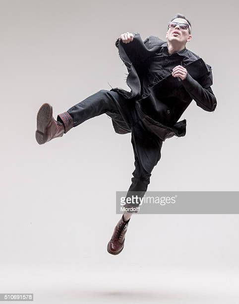 Male Fashion Model. Crazy Jumps