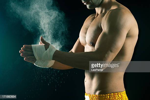 Male fighter preparing for fight