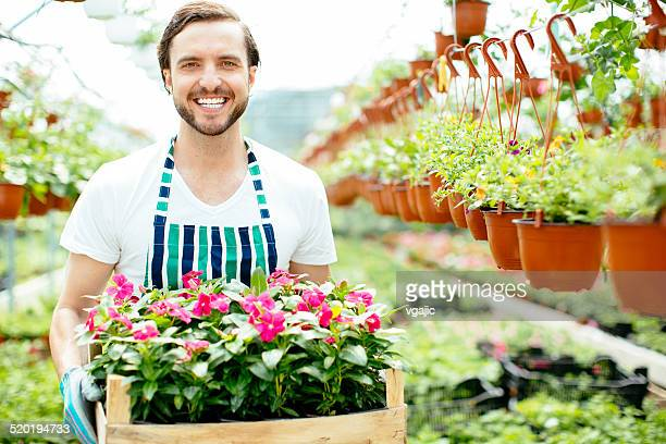 Male Florist With Flowers.