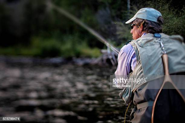 a male fly fisherman casting in a colorado stream near lake city, colorado - robb reece stock-fotos und bilder