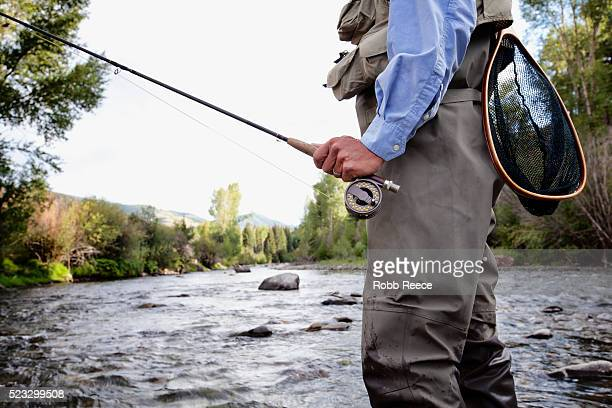 a male fly fisherman walks in a colorado stream near lake city, colorado - robb reece stock-fotos und bilder