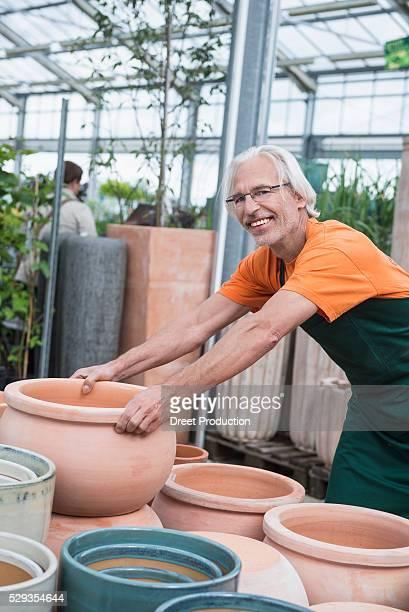 Male gardener arranging ceramic pots in greenhouse, Augsburg, Bavaria, Germany
