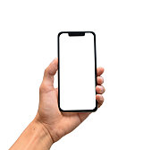 Male hand holding a modern smartphone with blank screen, notch