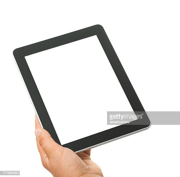 Male hand holding a touchscreen