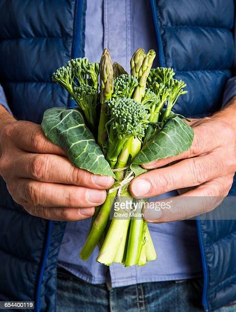 Male hands holding a vegetable bouquet.