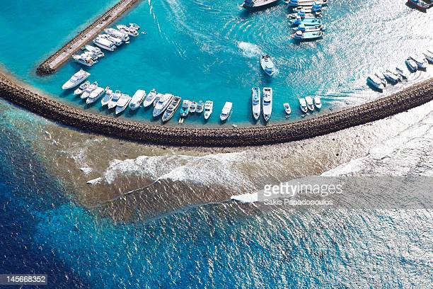 male harbor aerial view, maldives - male maldives stock pictures, royalty-free photos & images
