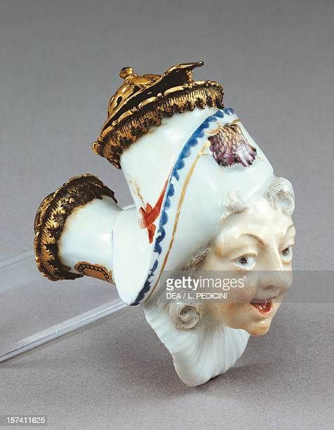 Male headshaped stove pipe porcelain Nymphenburg manufacture Bavaria Germany 18th century Sorrento Museo Correale Di Terranova