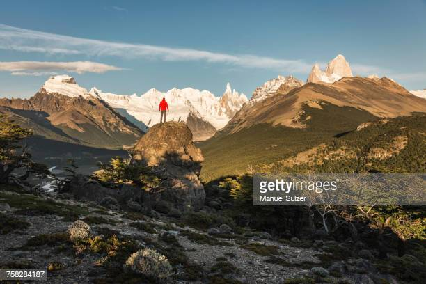 male hiker looking out cerro torre and fitz roy mountain range in los glaciares national park, patagonia, argentina - los glaciares national park stock pictures, royalty-free photos & images