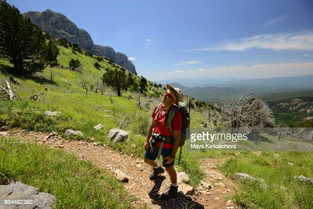 male hiker on mountain path, zagoria / epirus, greece - epirus greece stock pictures, royalty-free photos & images