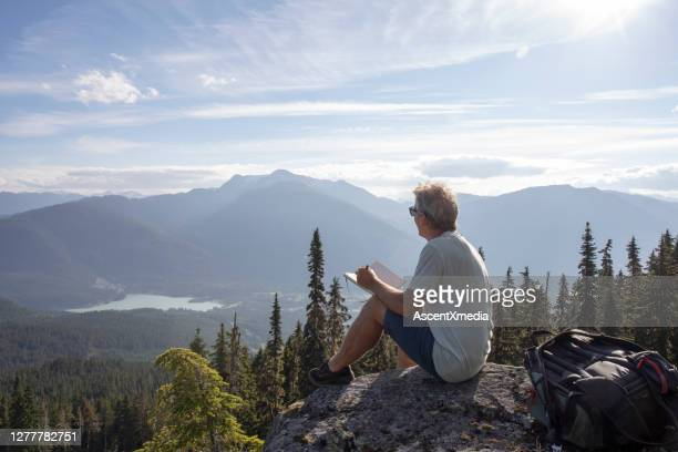 male hiker relaxes on rock overlook, above valley - protection stock pictures, royalty-free photos & images
