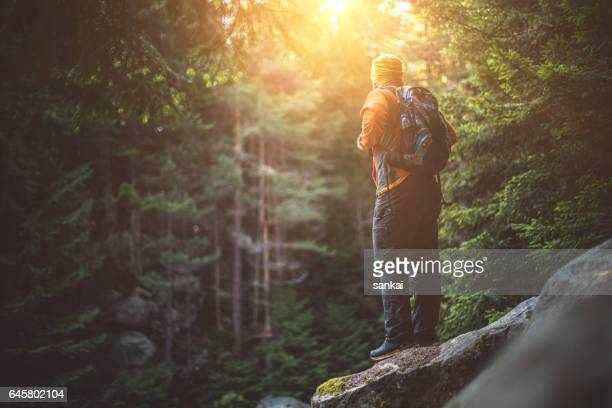 male hiker solitude in mountains - pirin national park stock pictures, royalty-free photos & images