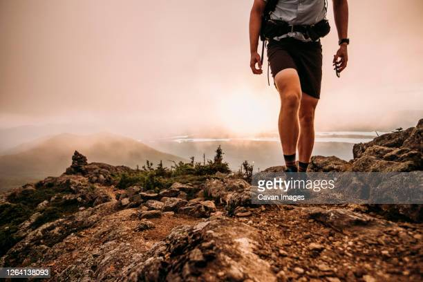male hiker with cell phone walks along appalachian trail in mist - ridge stock pictures, royalty-free photos & images