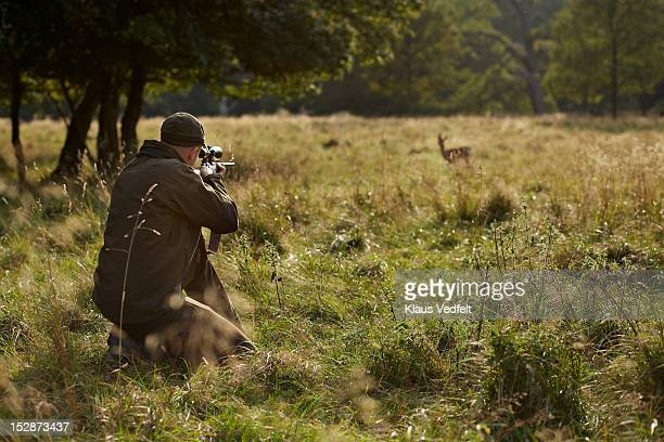 male hunter aiming at deer with rifle - jagd stock-fotos und bilder