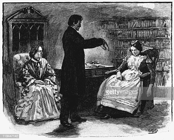 Male hypnotist putting young woman into an hypnotic trance Wood engraving 1891