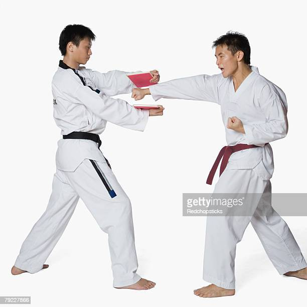 Male karate instructor teaching martial arts to a young man