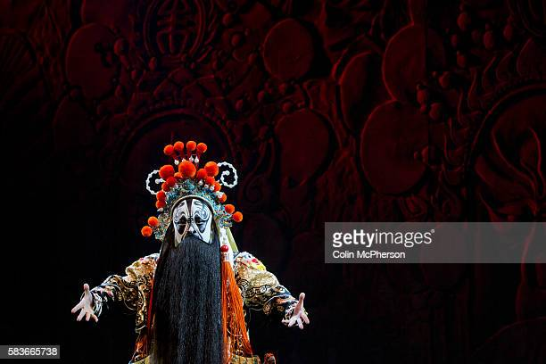 A male lead actor in traditional costume pictured during a performance of Peking Opera for tourists at a theatre in Beijing China Peking or Beijing...