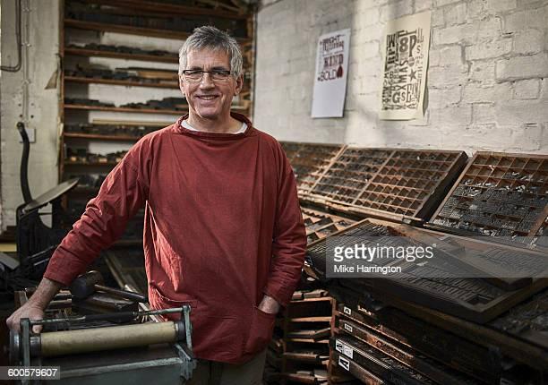 Male letterpress printer